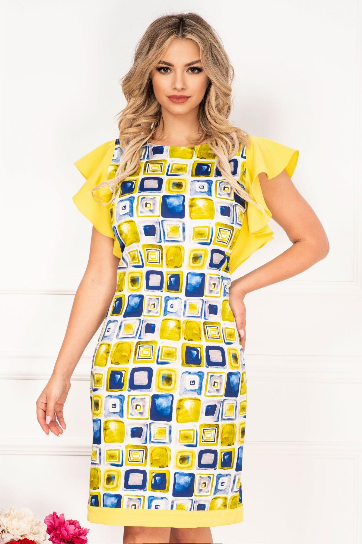Rochie de zi InPuff cu imprimeu geometric tip pictura si volanase galbene