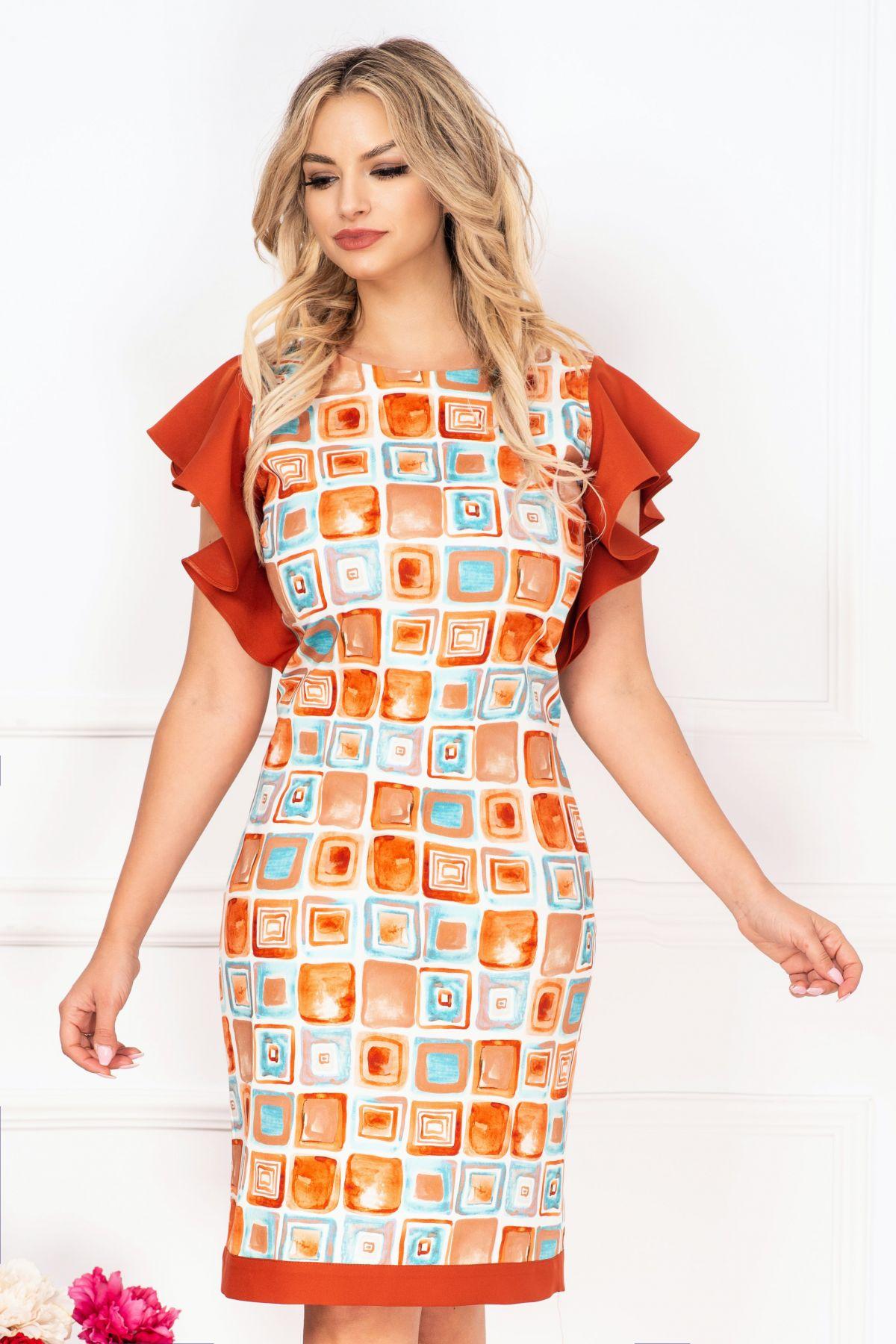 Rochie de zi InPuff cu imprimeu geometric tip pictura si volanase caramizii