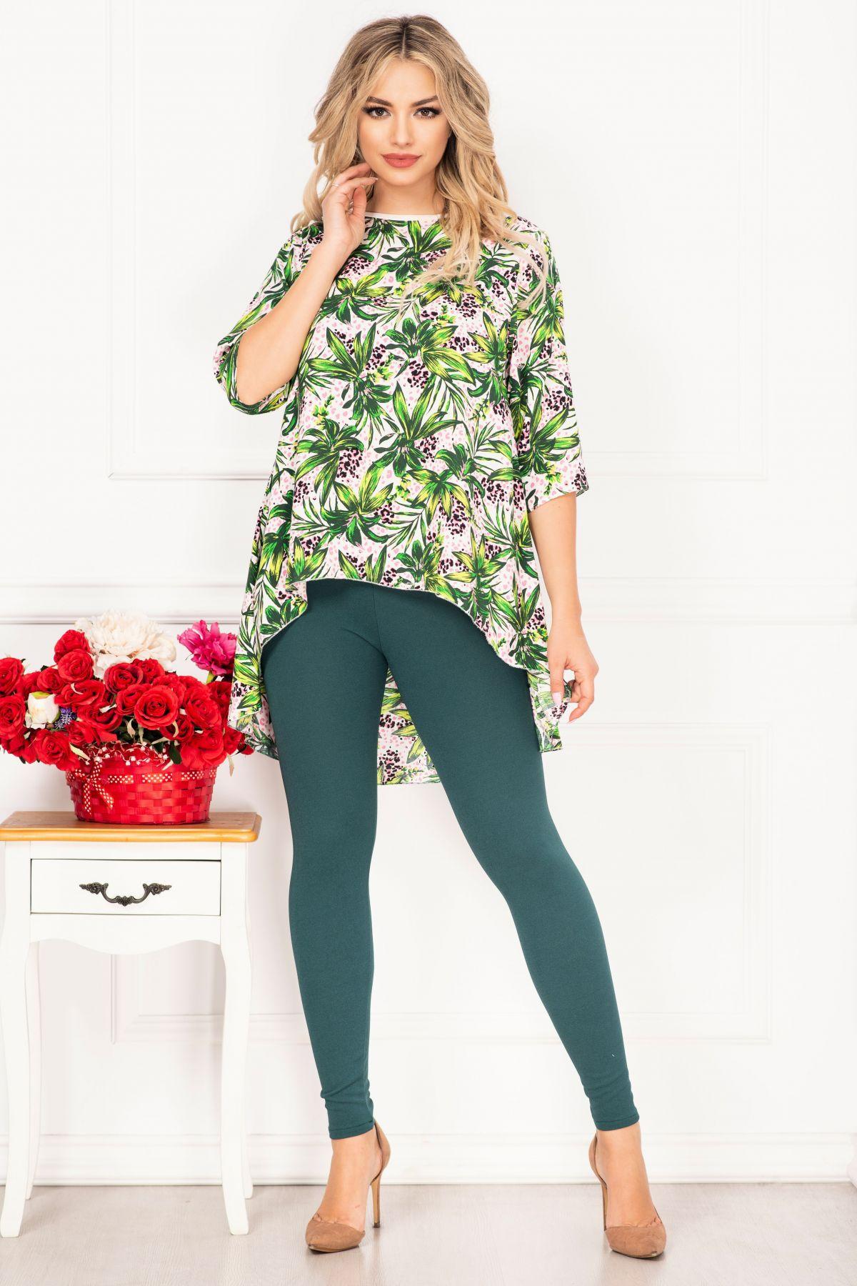 Compleu casual Linda cu imprimeu jungle si bluza asimetrica By InPuff