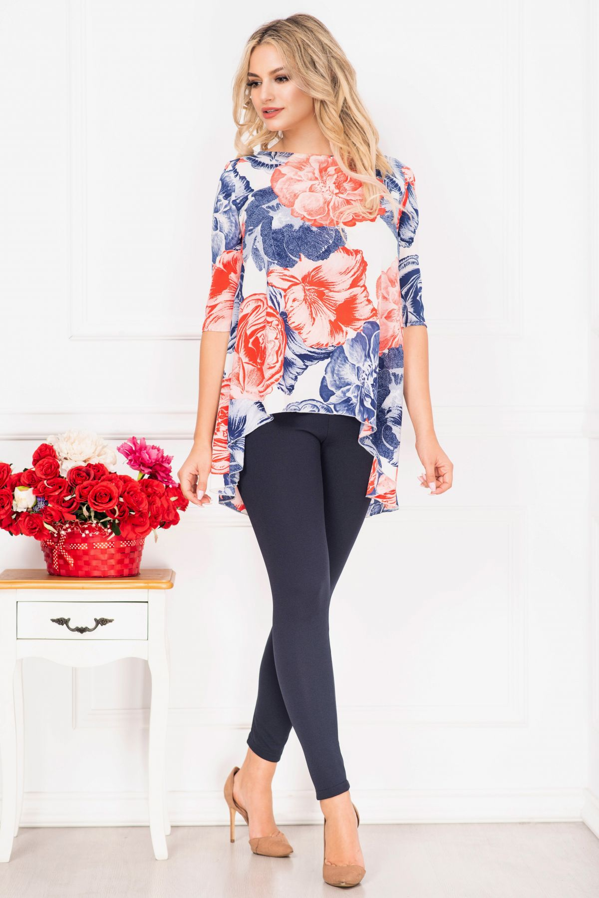Compleu casual Linda cu imprimeu flori maxi si bluza asimetrica By InPuff