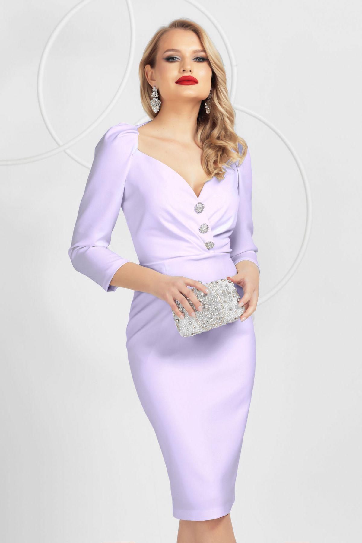 Rochie eleganta Pretty Girl lila cu decolteu tip inima