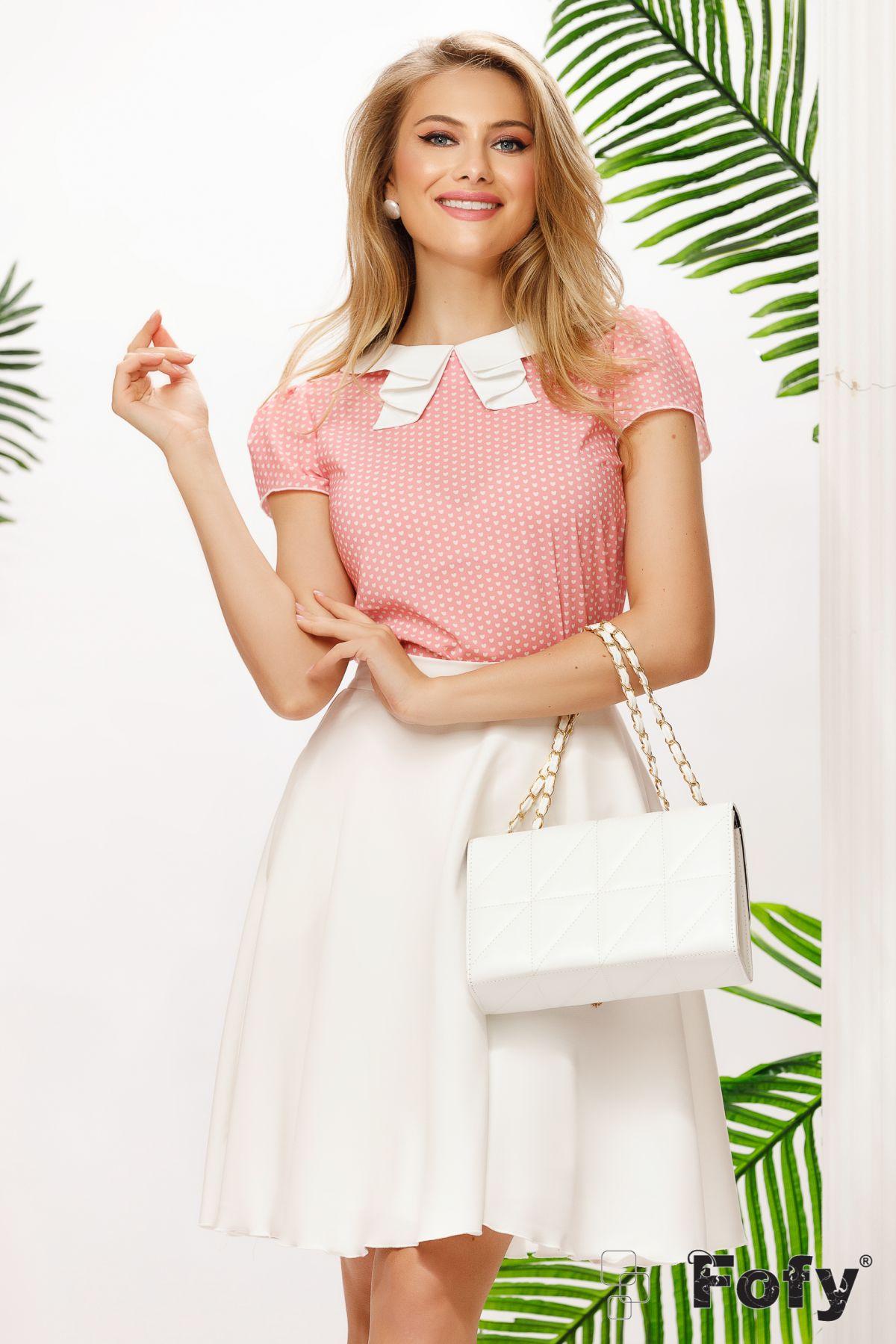 Bluza Fofy de vara roz cu inimioare si guler alb pliat