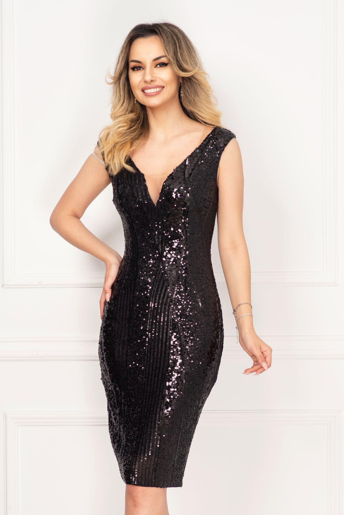 Rochie Xara de ocazie eleganta conica cu paiete negre si tul
