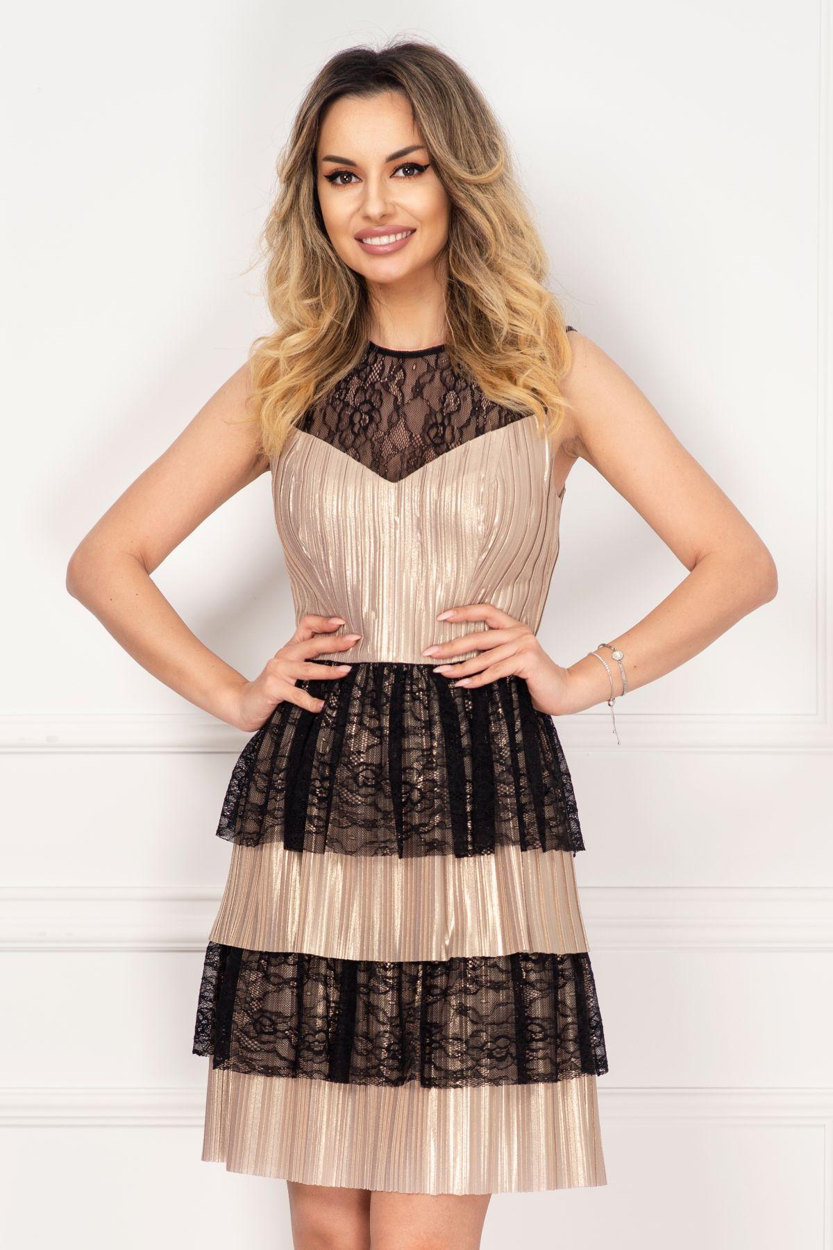 Rochie Xara eleganta aurie din jerse plisat cu volane din dantela neagra