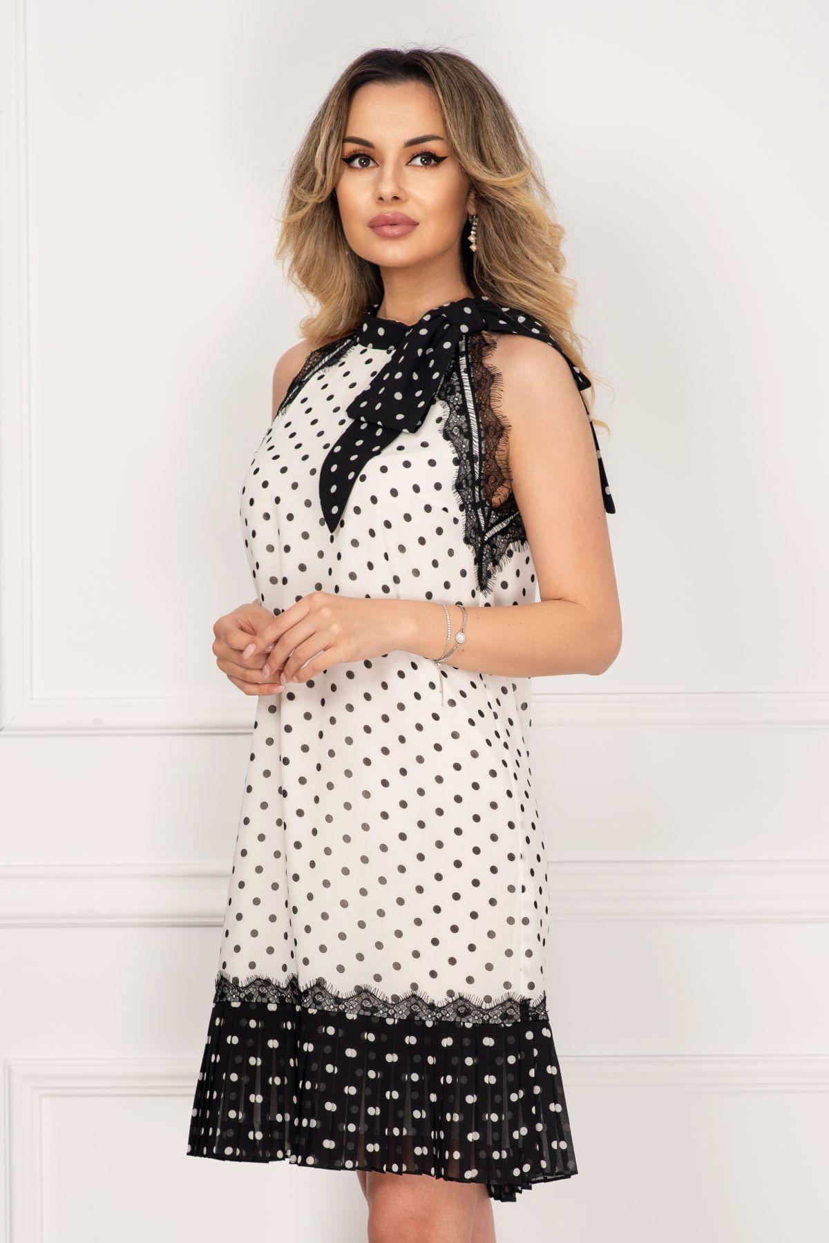 Rochie Xara din voal cu buline alb negru si insertii din dantela