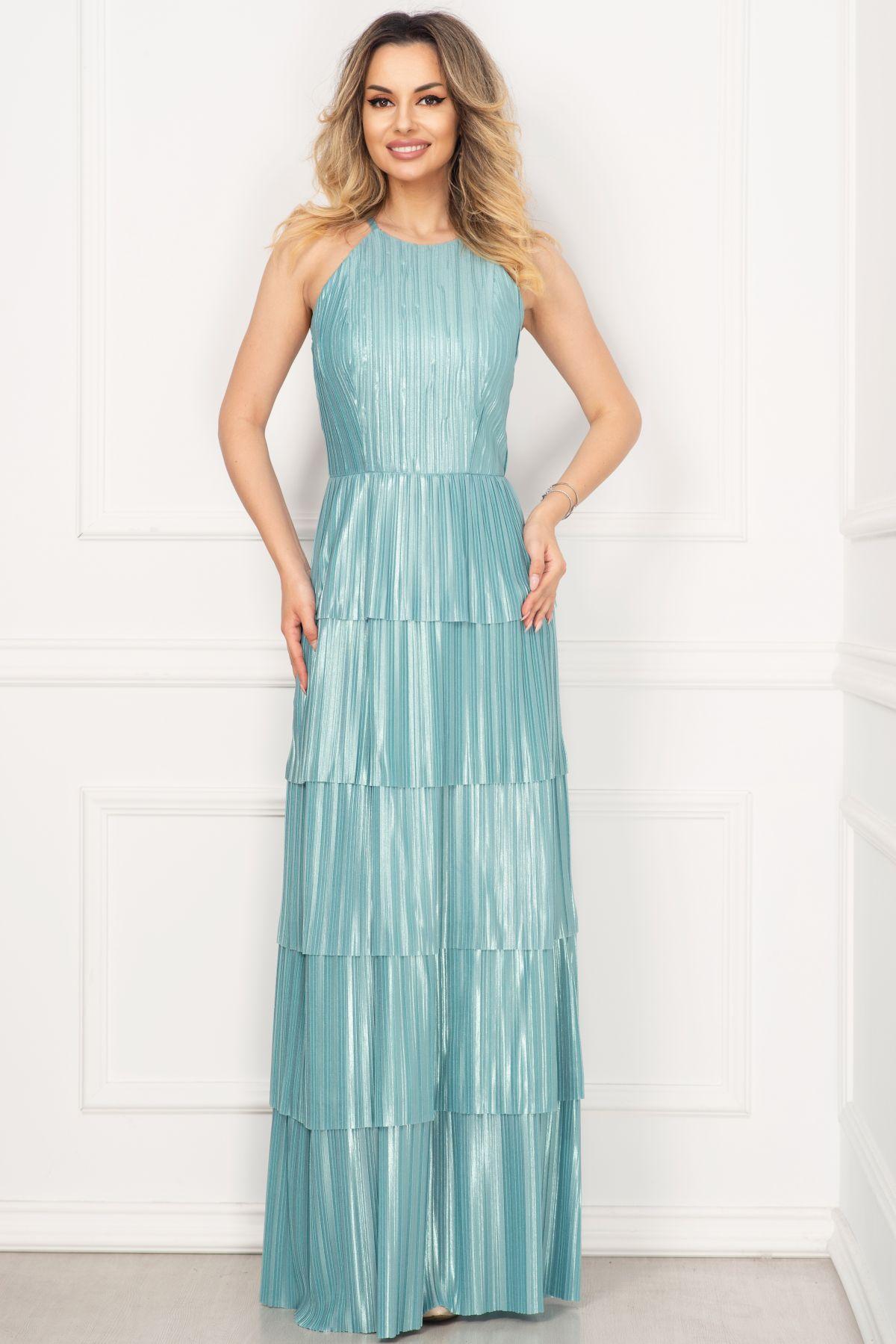 Rochie de seara Xara eleganta mint din saten plisat cu volanase