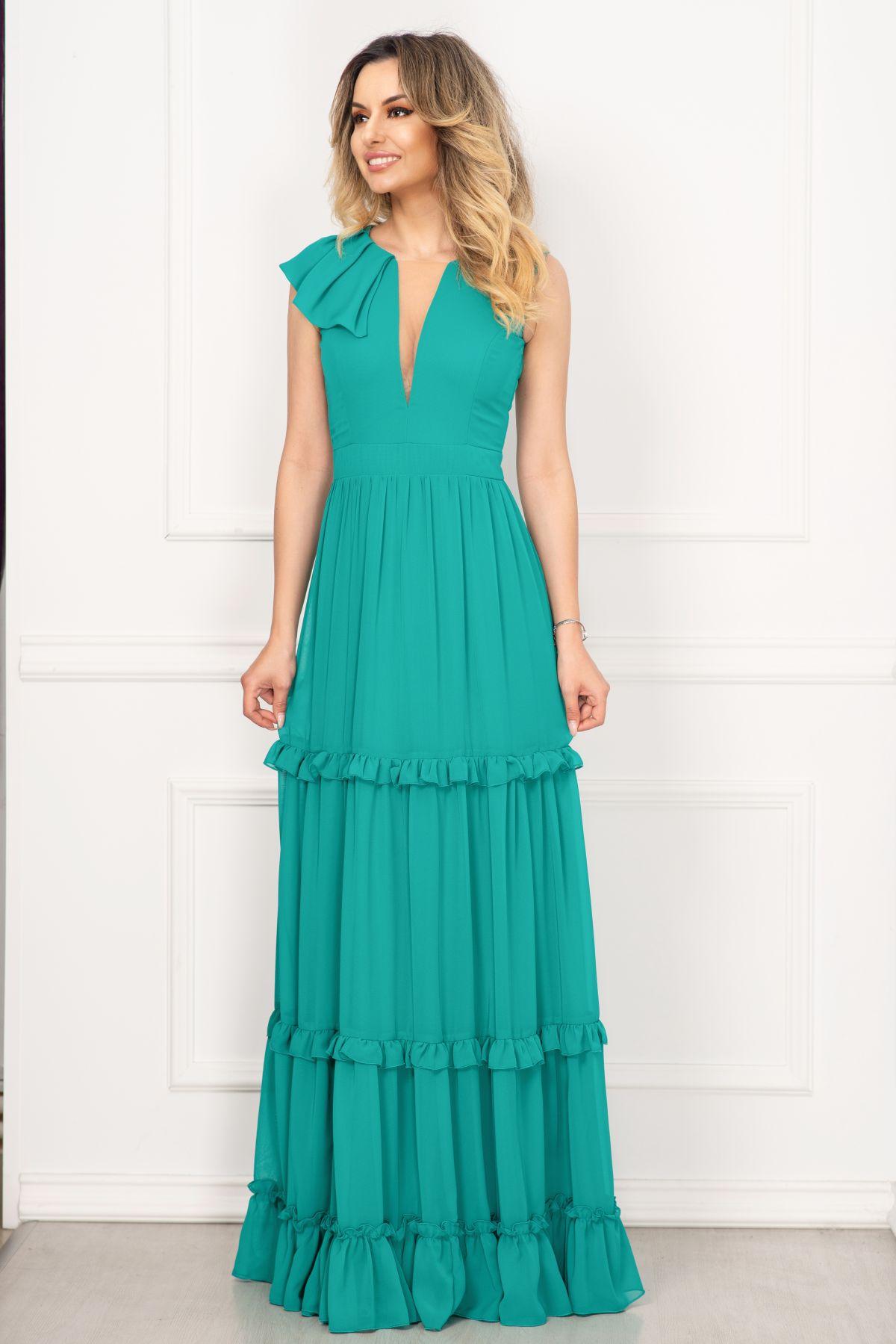 Rochie de seara Fofy turquoise cu volane