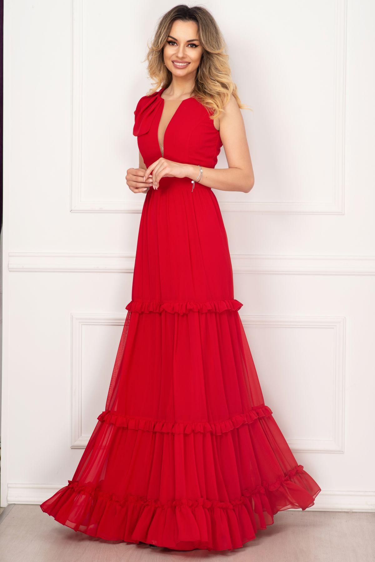 Rochie de seara Fofy rosie cu volane