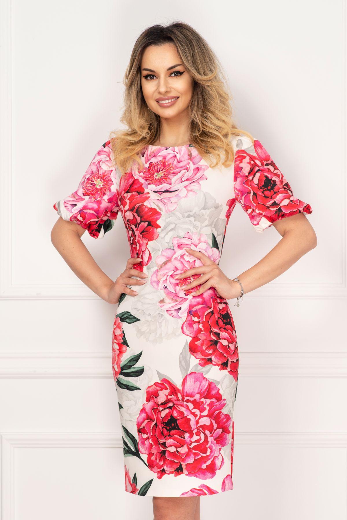 Rochie de vara alba Effect cu imprimeu floral deosebit si maneci bufante