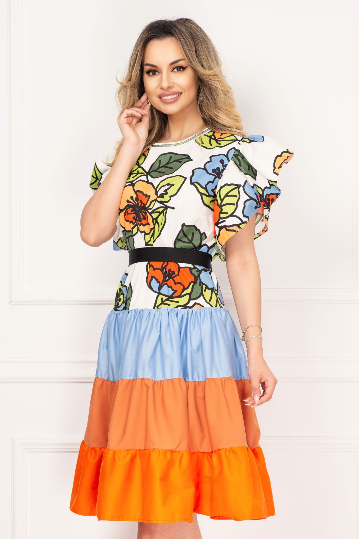 Rochie de vara Venezia cu volanase si imprimeu floral multicolor
