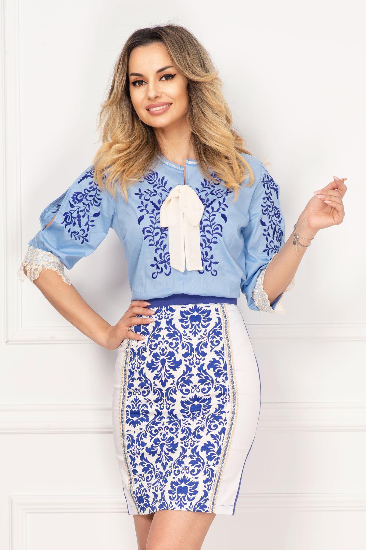 Bluza tip ie Venezia bleu traditionala cu dantela aplicata si broderie
