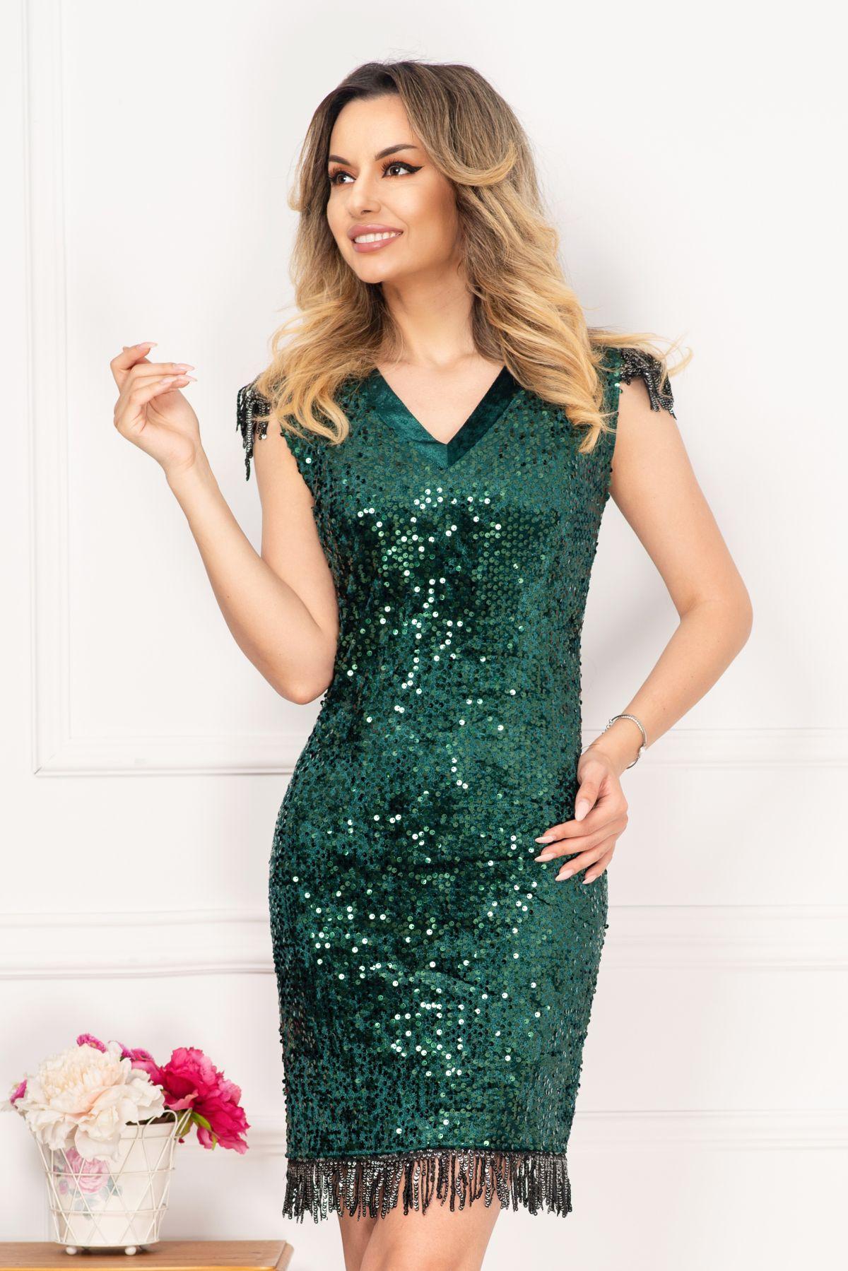 Rochie eleganta Irina de seara verde cu paiete si franjuri By InPuff