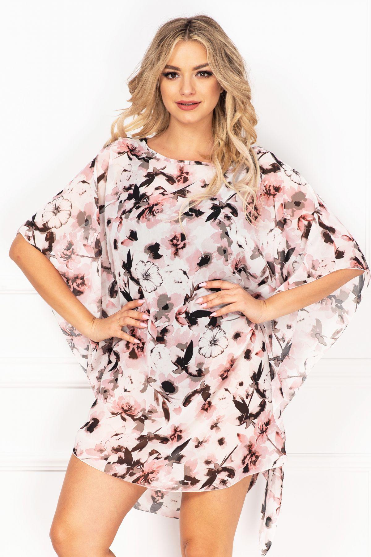 Rochie de plaja tip fluture din voal cu imprimeu floral