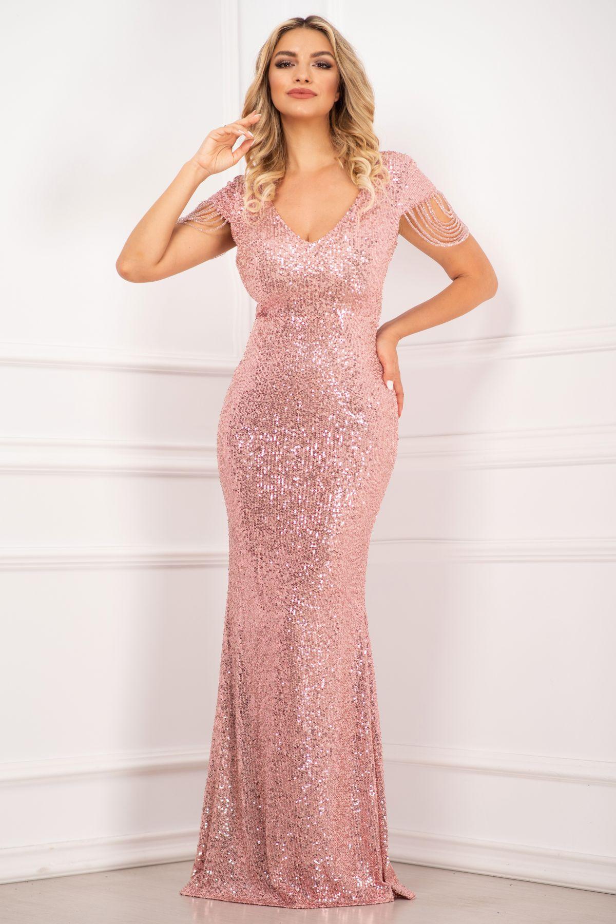 Rochie de seara eleganta InPuff cu paiete roz si margelute pe umeri
