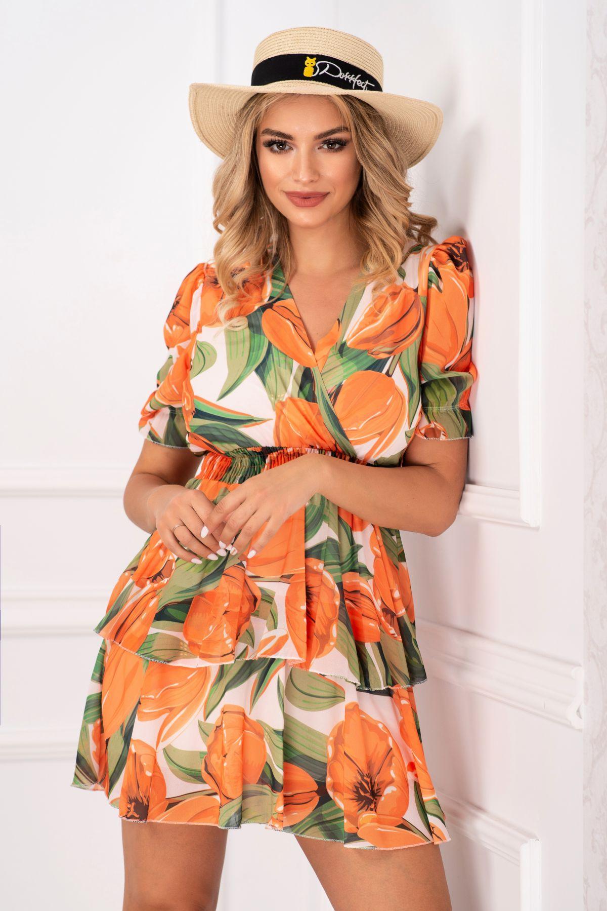 Rochie mini de vara din voal cu imprimeu lalele orange