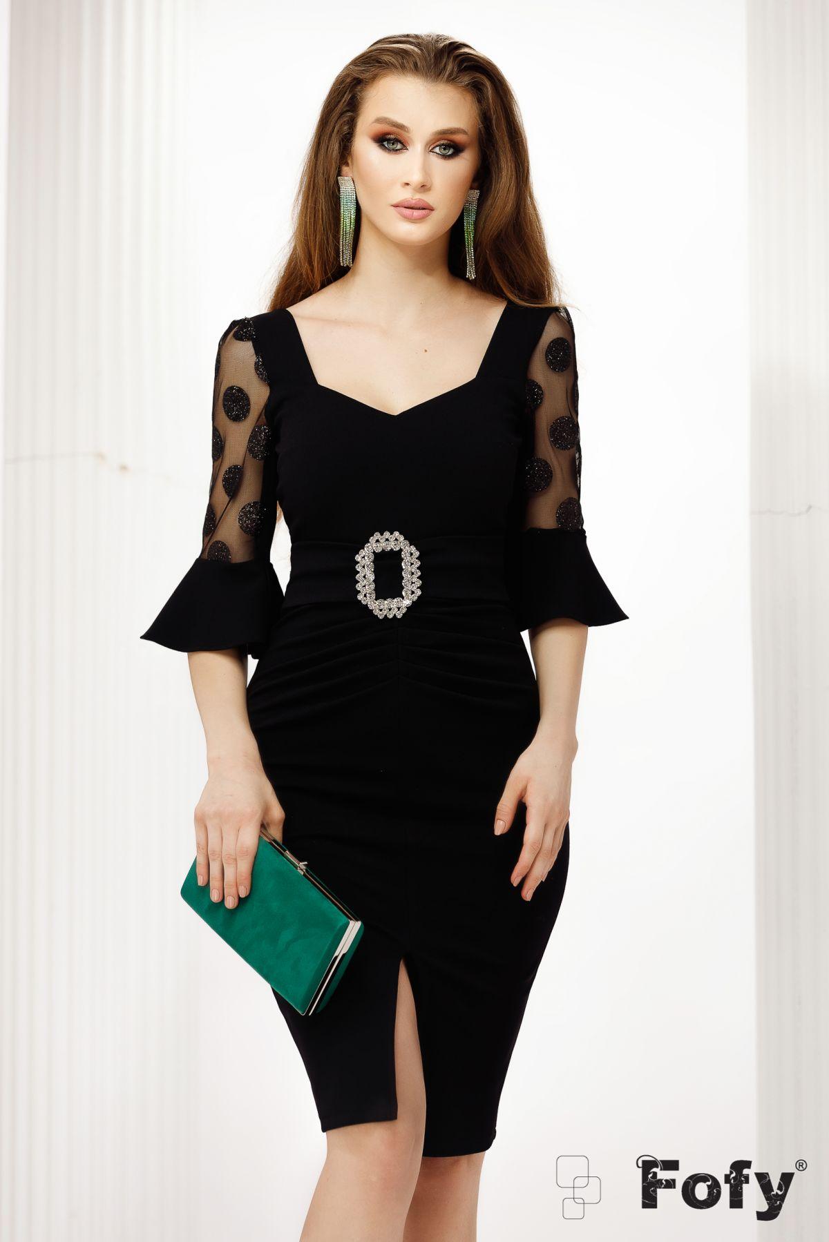 Rochie eleganta Fofy de ocazie neagra cu maneci din tulle si buline