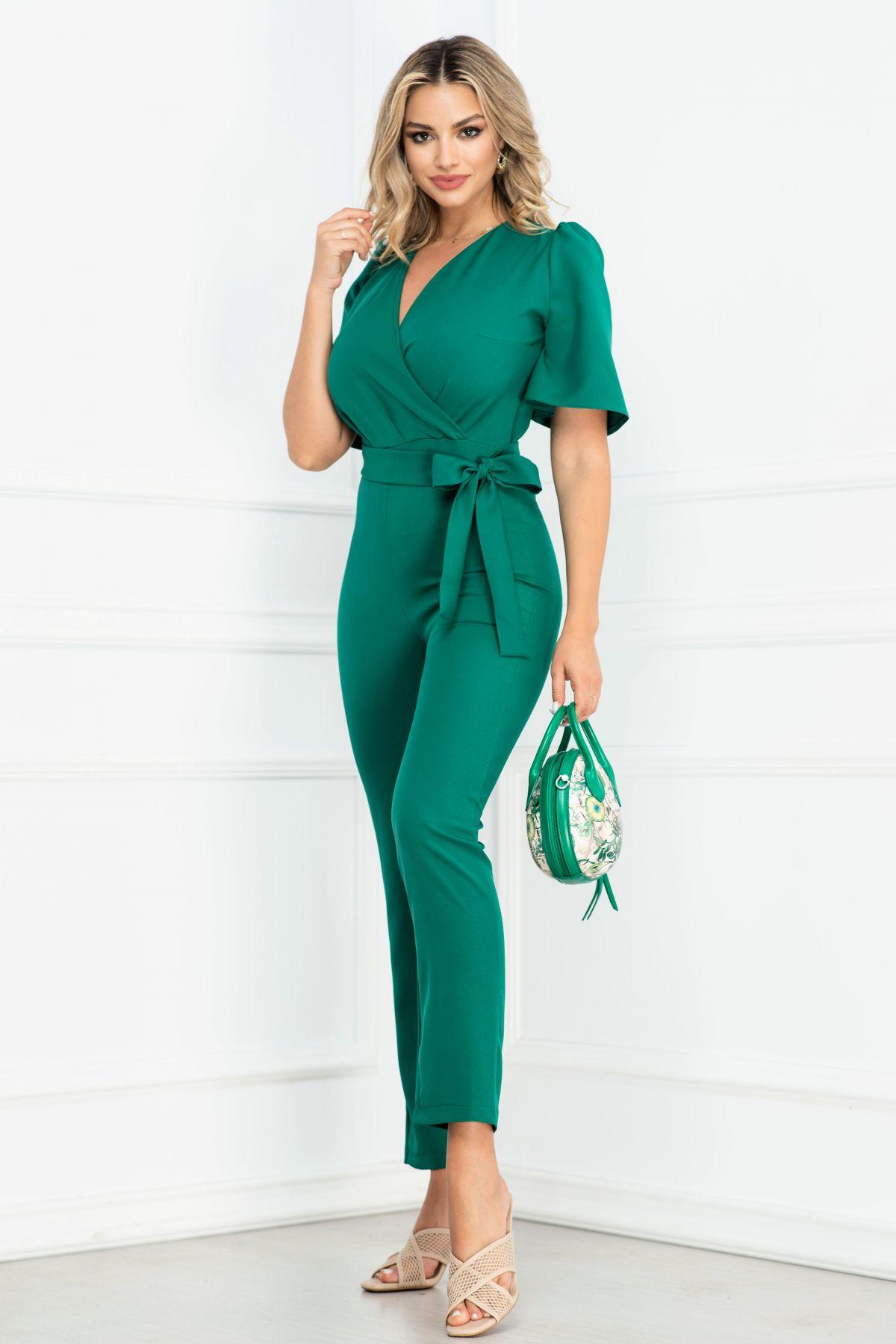 Salopeta eleganta verde cu maneca clopot si bust petrecut By InPuff