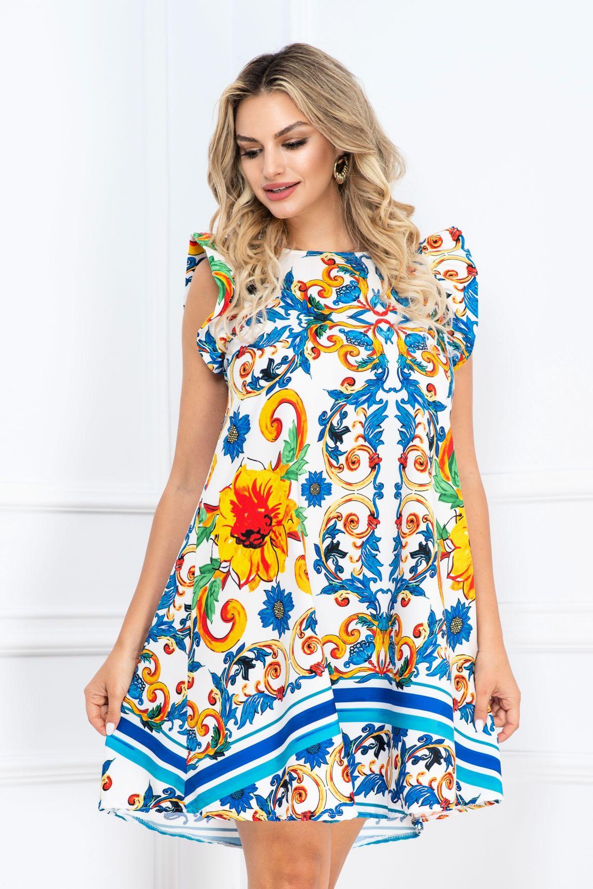Rochie de vara lejera cu volanase la maneca si imprimeu multicolor
