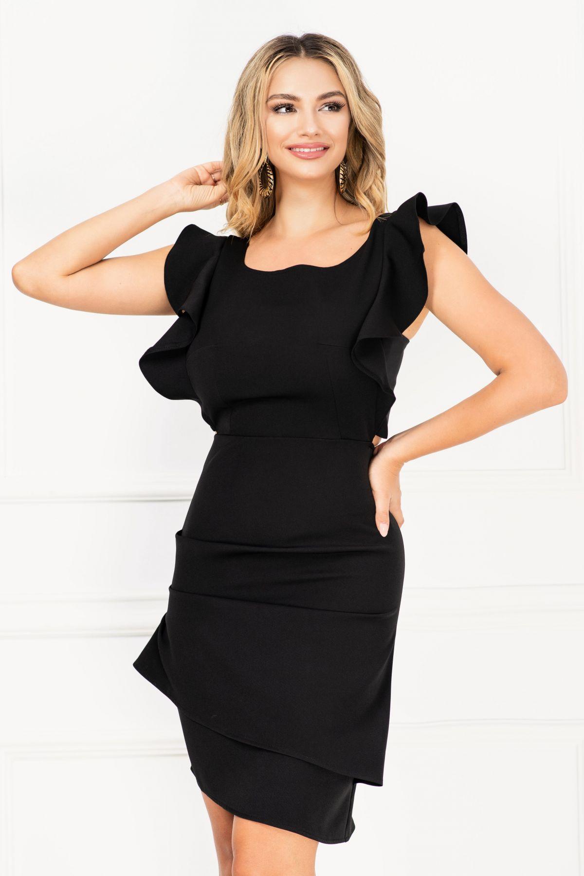 Rochie eleganta InPuff neagra cu spatele gol si fronseuri