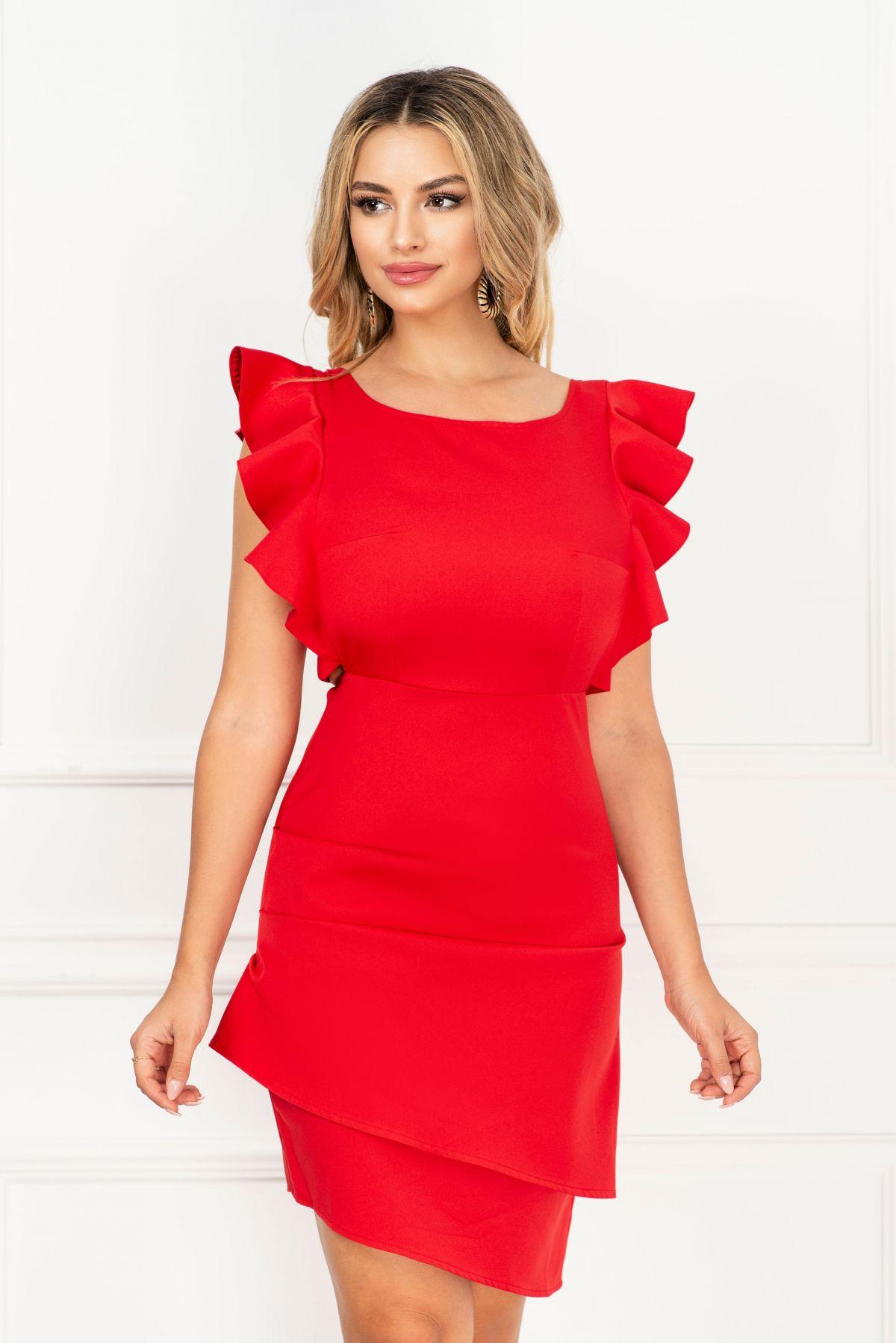 Rochie rosie eleganta InPuff cu spatele gol si fronseuri