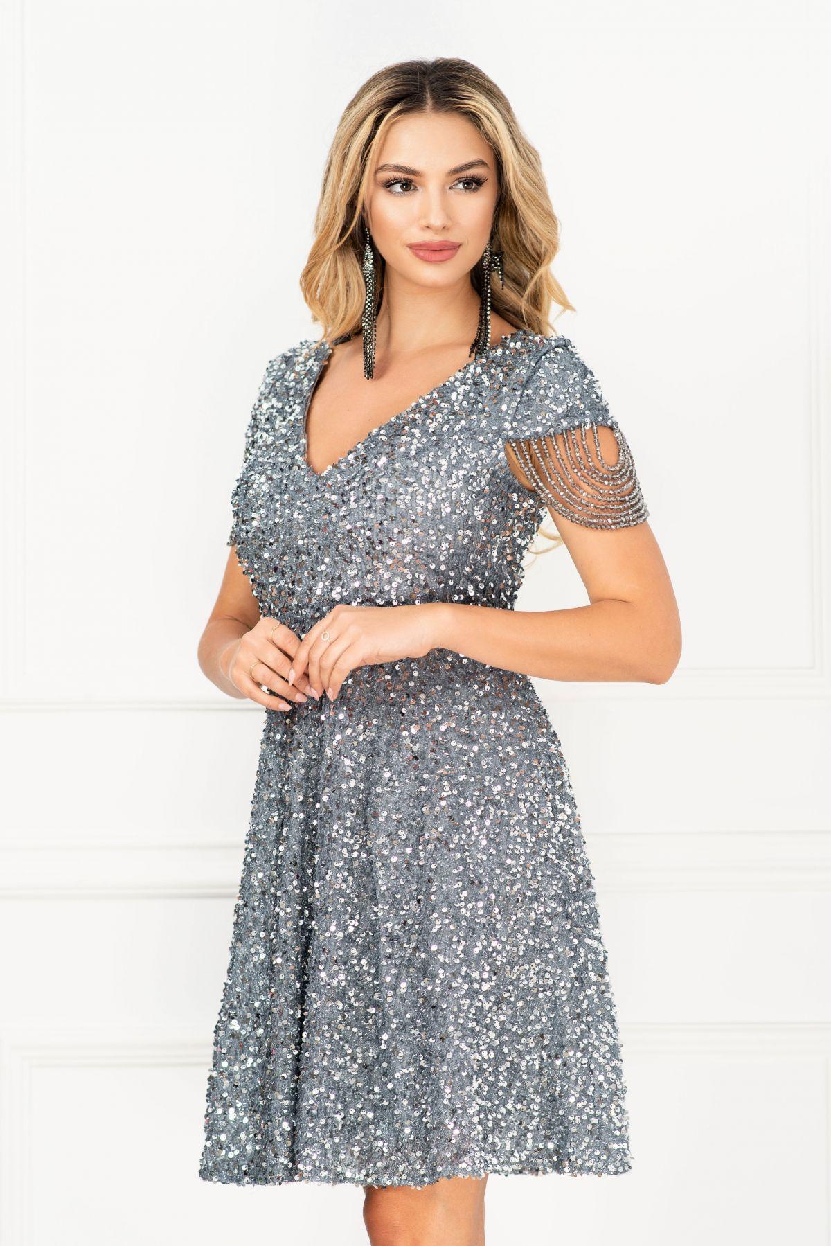 Rochie de seara eleganta in clos InPuff cu paiete gri si margelute