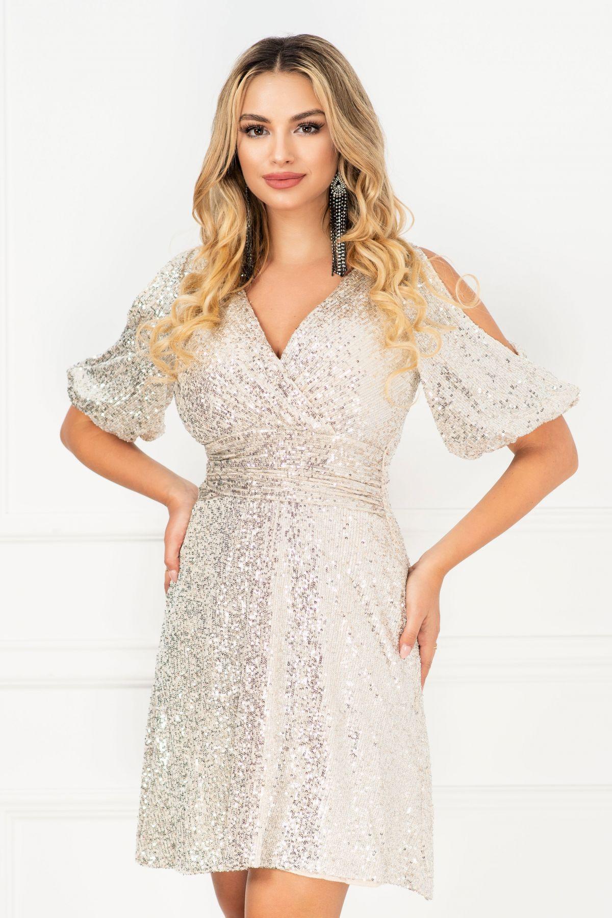 Rochie de seara eleganta in clos InPuff cu paiete argintii si maneca gogosar