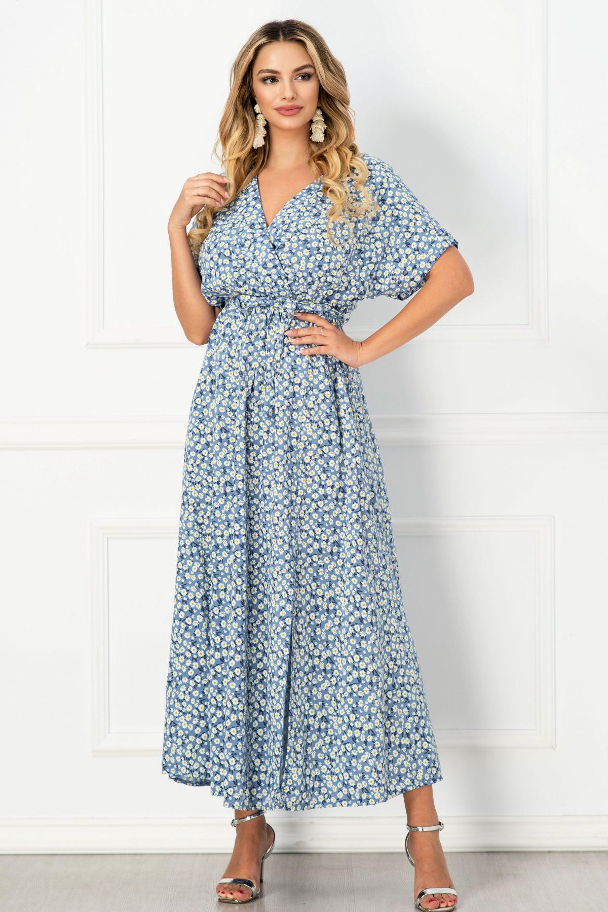 Rochie de vara lunga lejera bleu cu imprimeu margarete