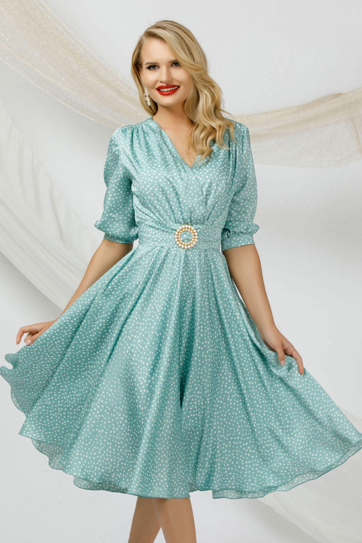 Rochie eleganta Pretty Girl mint cu buline marunte si catarama