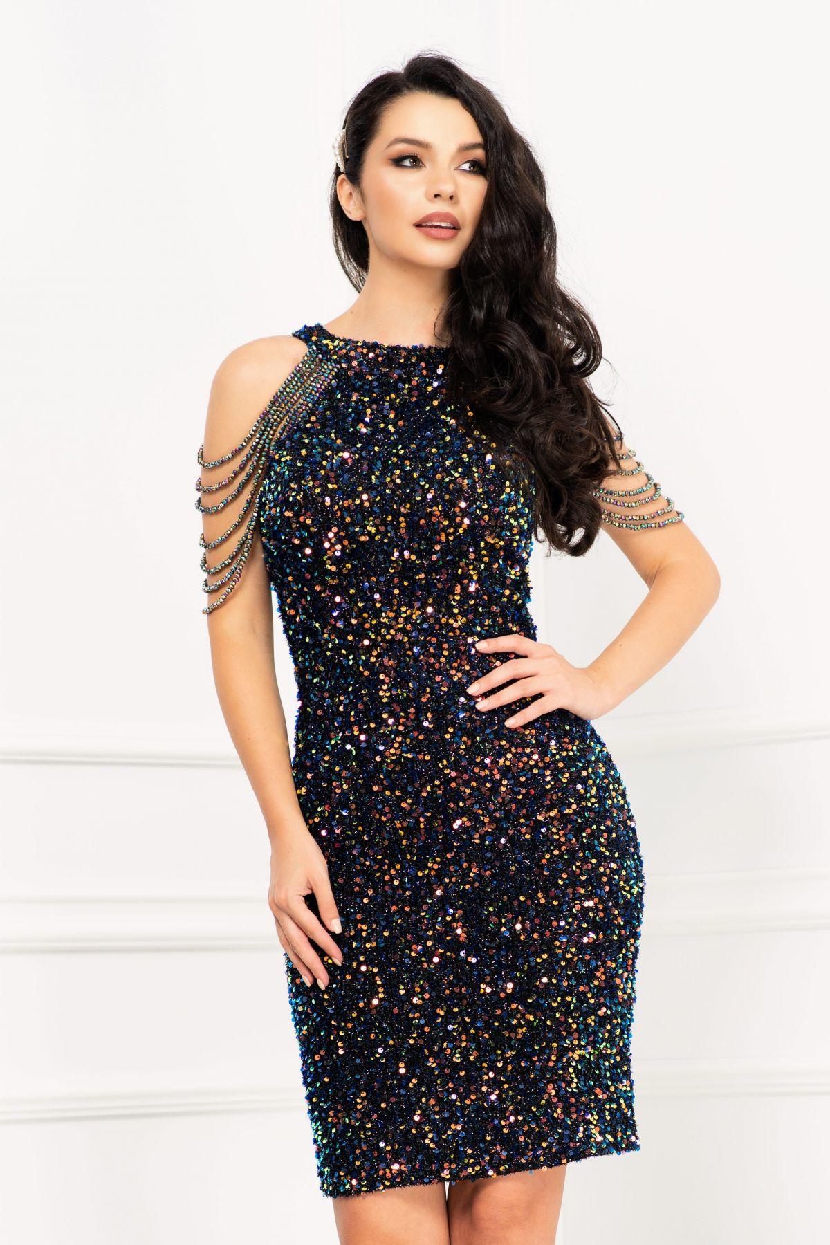 Rochie eleganta de seara scurta InPuff cu paiete bleumarin si margele pe umeri