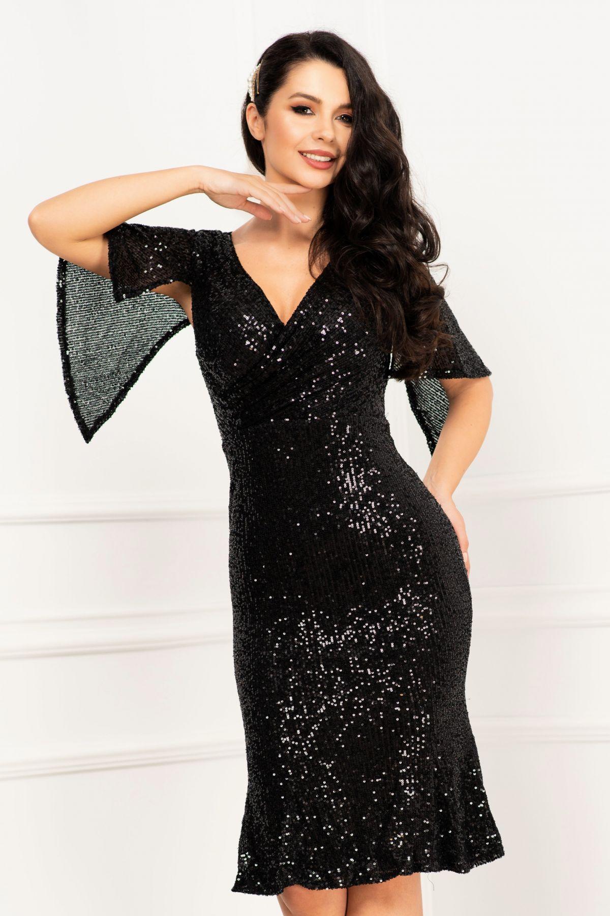 Rochie de seara eleganta neagra din paiete cu maneca tip liliac