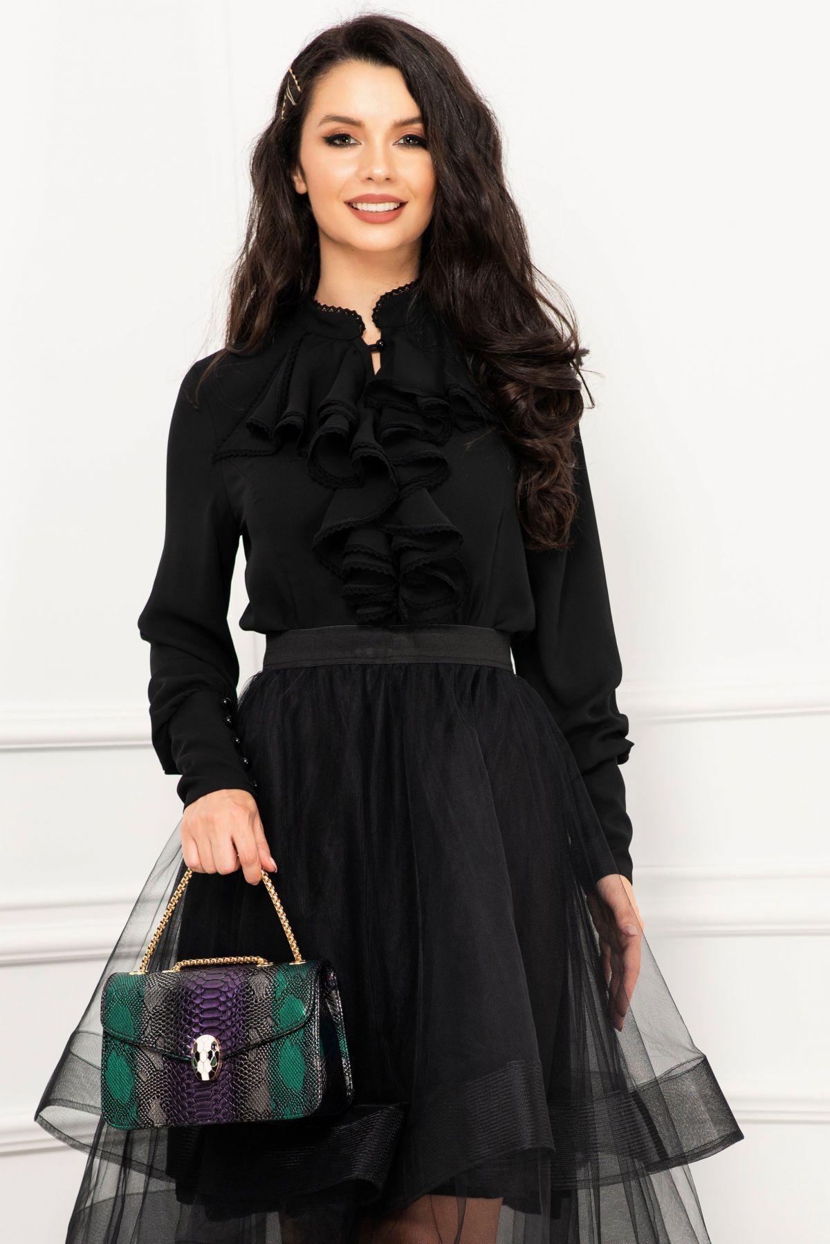 Bluza dama eleganta Effect neagra din voal cu jabou