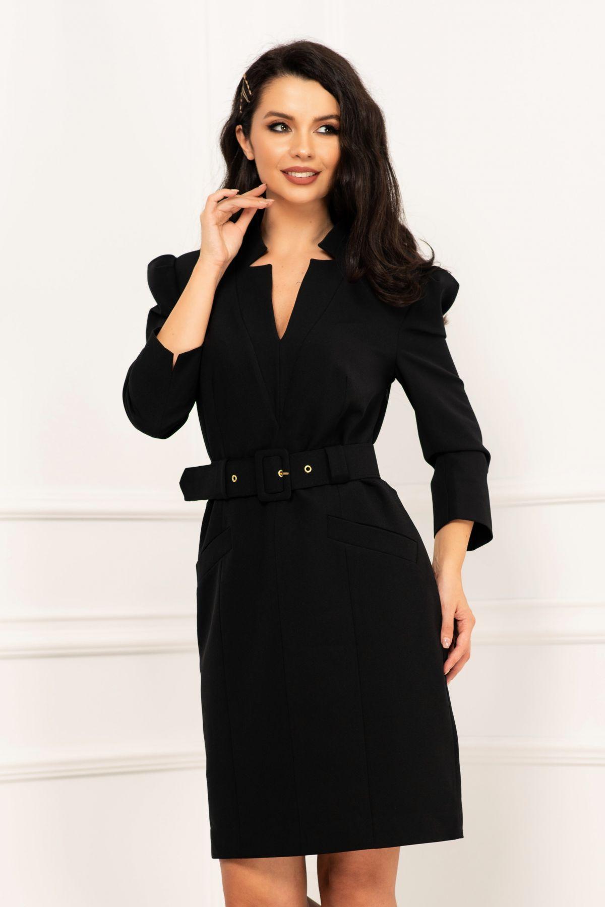 Rochie office eleganta neagra dreapta cu centura in talie