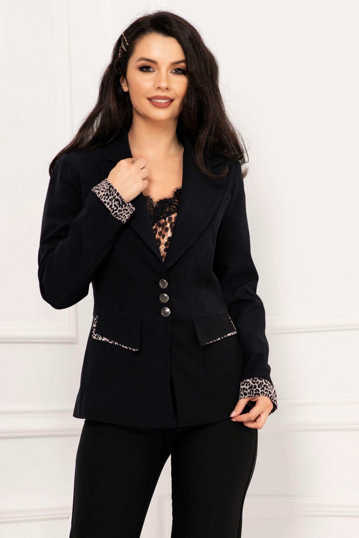 Sacou office negru elegant cu mansete si detalii animal print