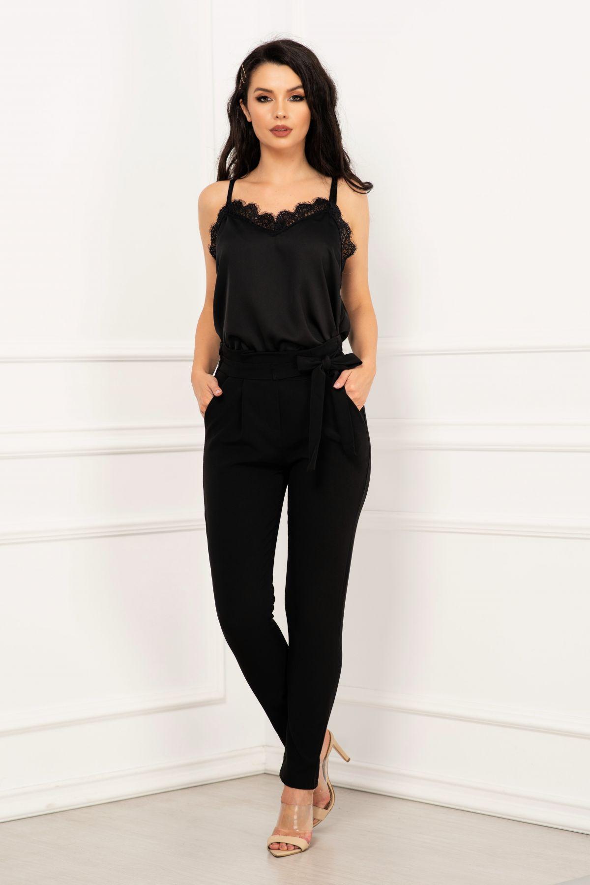 Pantalon office negru cu talie inalta si cordon nedetasabil