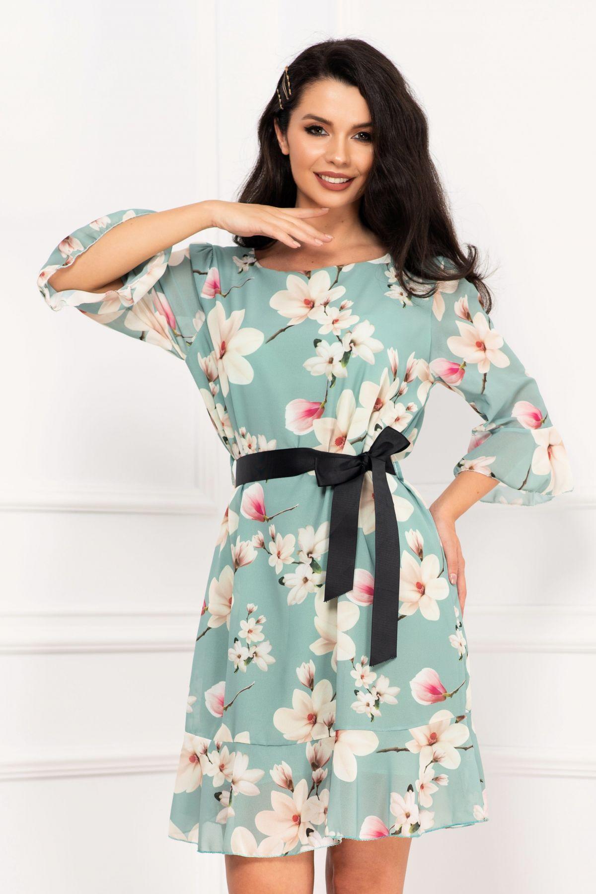 Rochie dama din voal mint cu imprimeu flori de magnolie