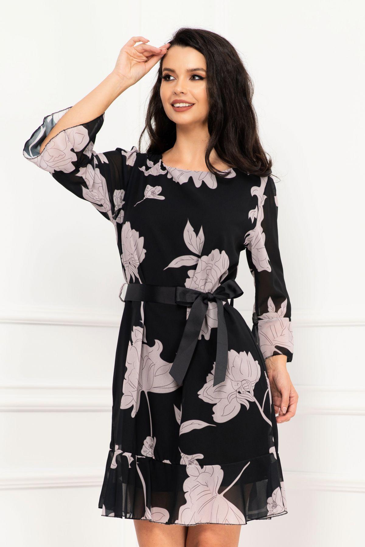 Rochie dama din voal neagra cu imprimeu flori gri