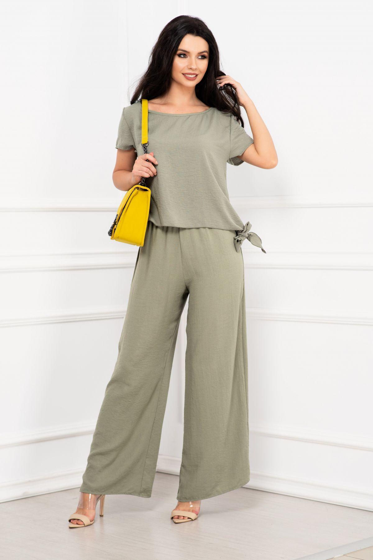 Compleu elegant Elena vernil cu pantaloni evazati si bluza cu nod By InPuff