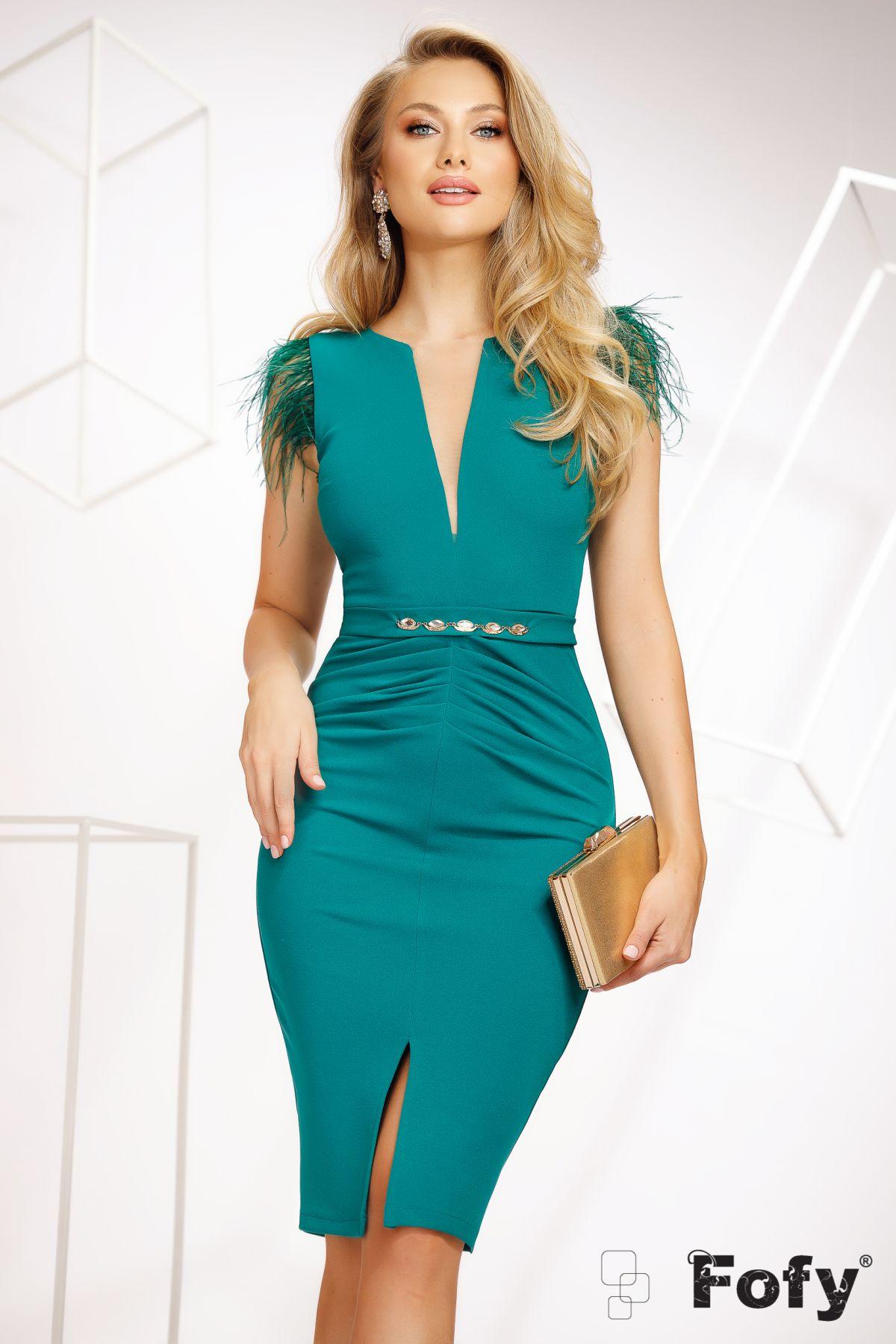 Rochie eleganta Fofy de ocazie verde cu pene la umeri
