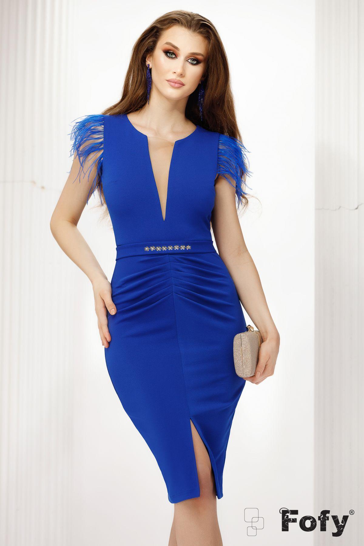Rochie eleganta Fofy de ocazie albastra cu pene la umeri