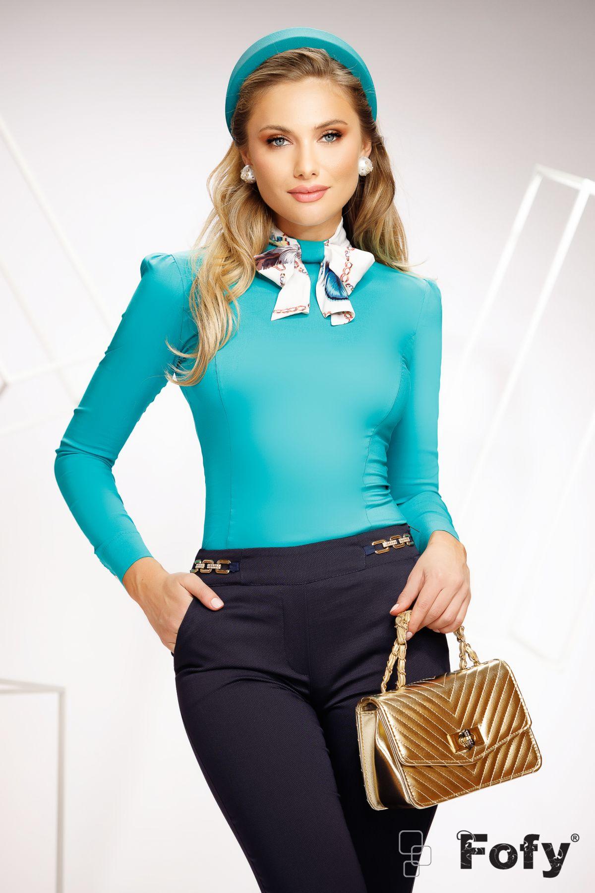 Camasa dama Fofy turquoise cu funda stilizata din voal