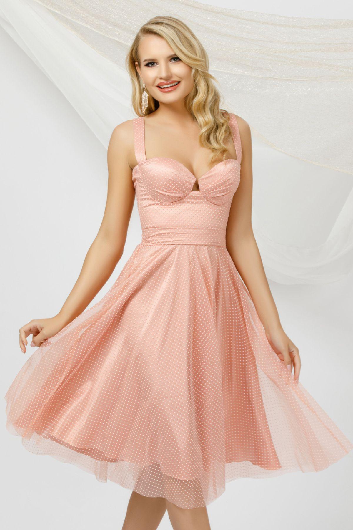 Rochie eleganta rose din tulle Pretty Girl cu buline si bust tip corset