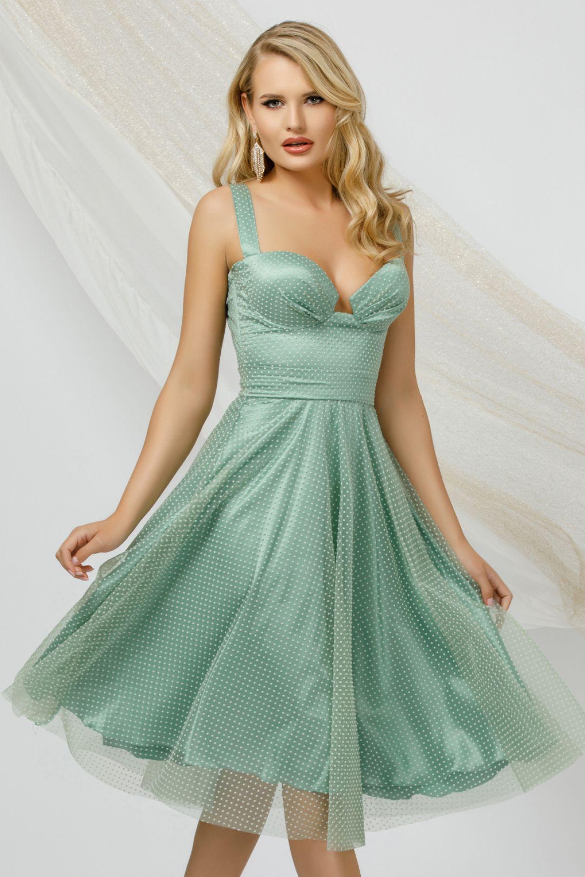 Rochie eleganta mint din tulle Pretty Girl cu buline si bust tip corset