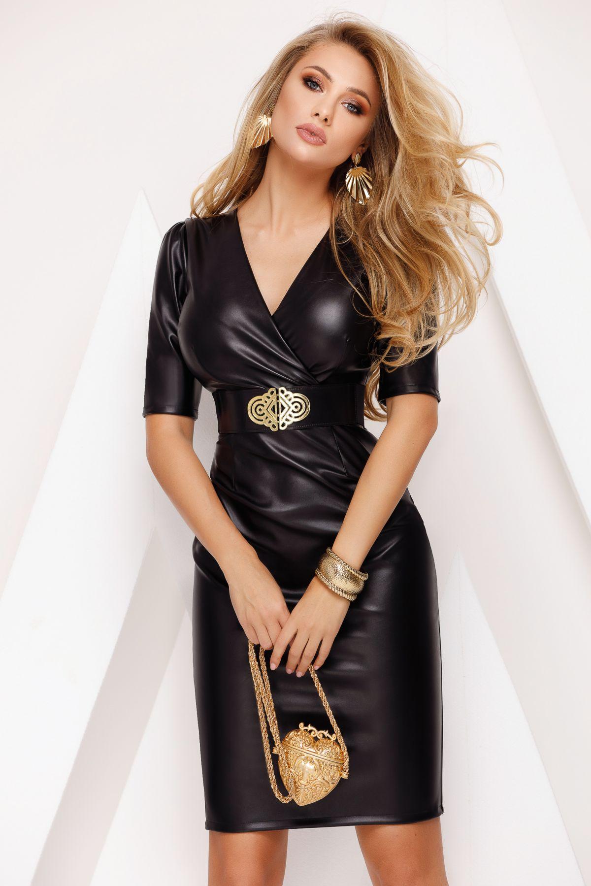 Rochie dama din piele ecologica neagra Fofy conica