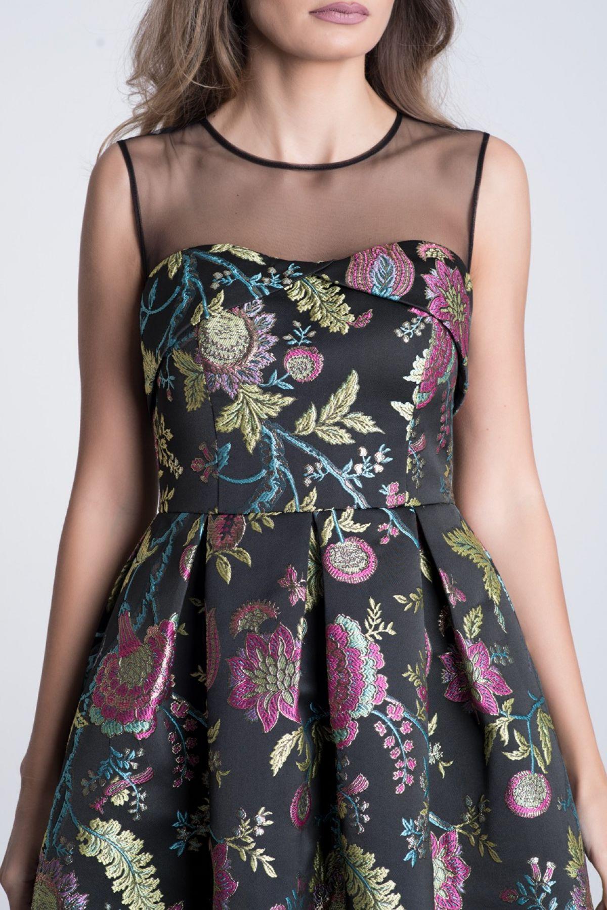Rochie neagra din jacquard cu print floral corai-verde
