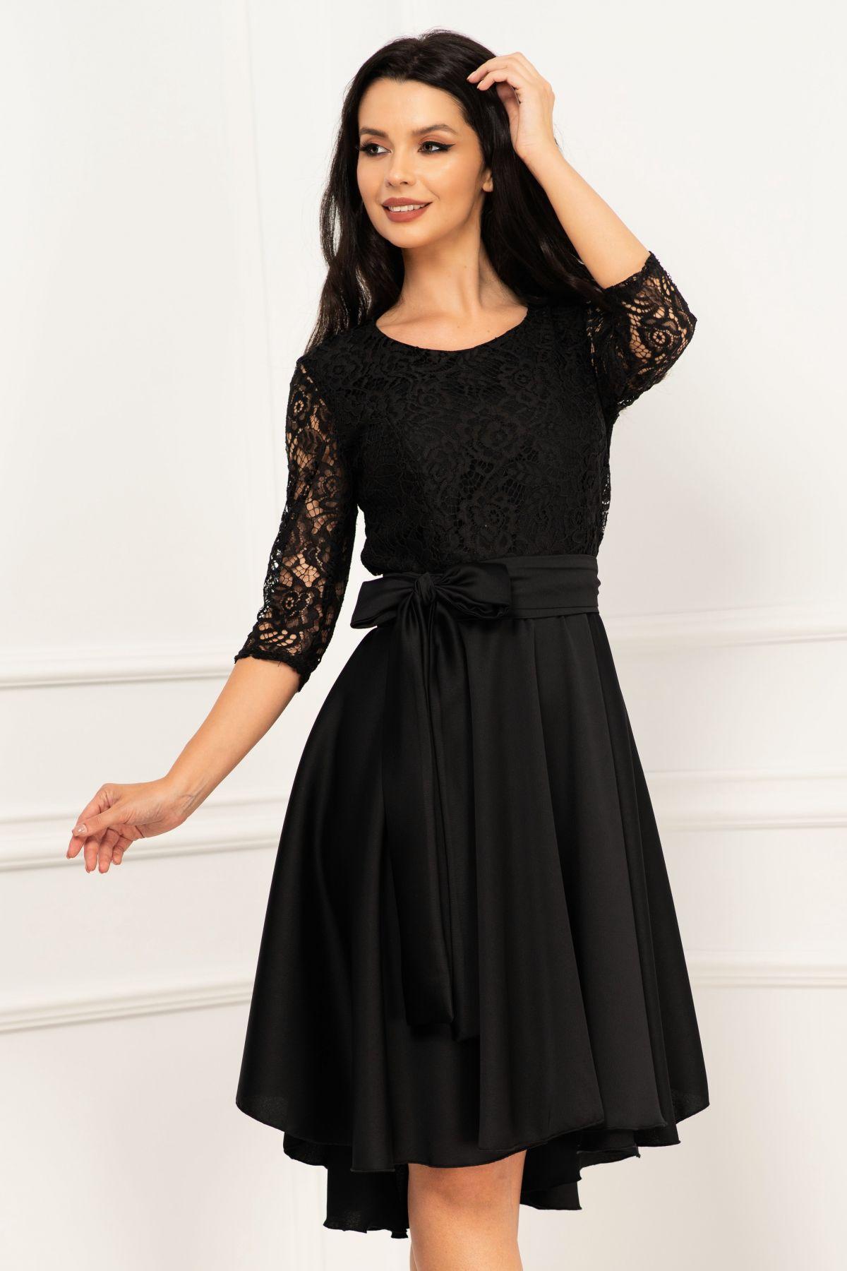 Rochie de ocazie neagra Paloma asimetrica cu dantela in partea de sus