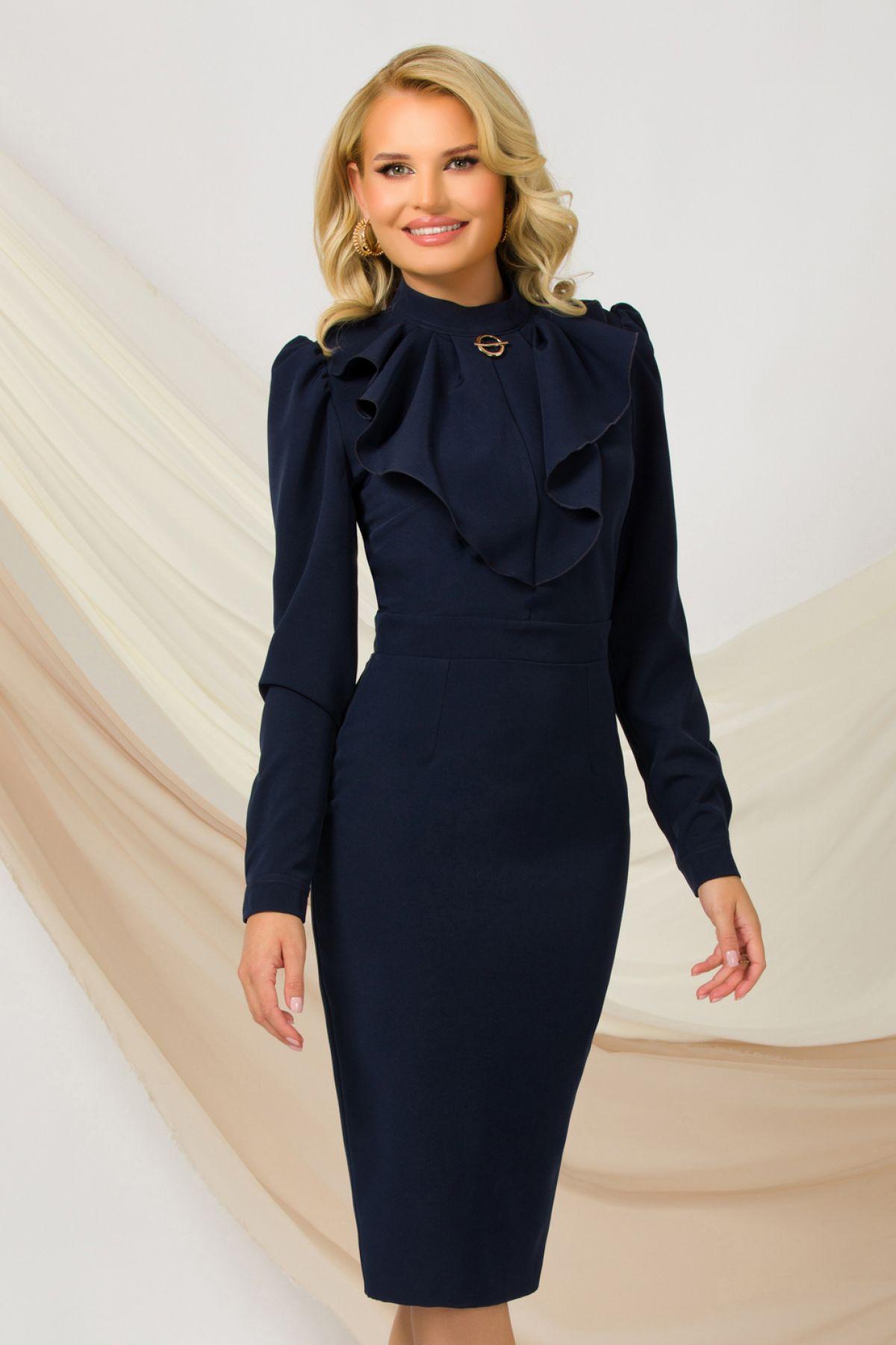 Rochie office eleganta Pretty Girl bleumarin cu jabou si brosa detasabila