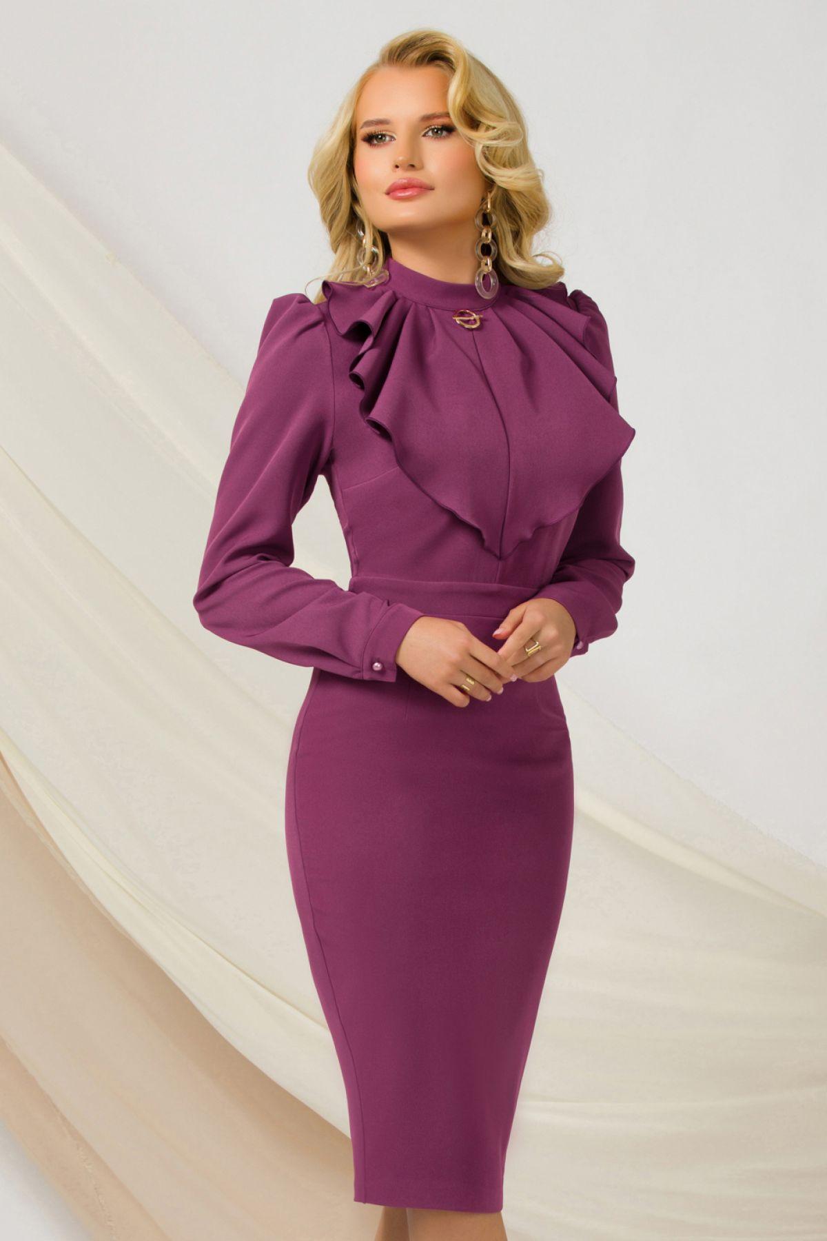 Rochie office violet eleganta Pretty Girl cu jabou si brosa detasabila