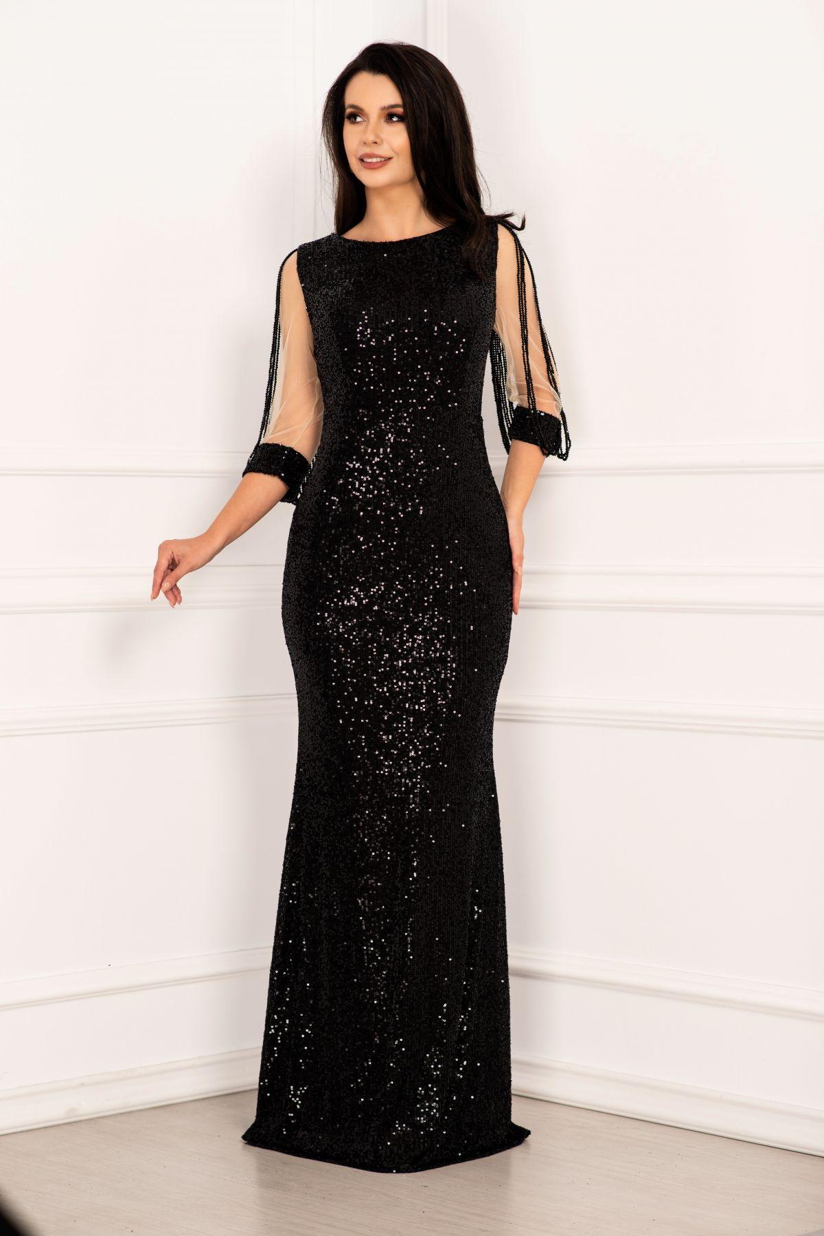 Rochie de seara eleganta neagra din paiete tip sirena cu margele pe maneci
