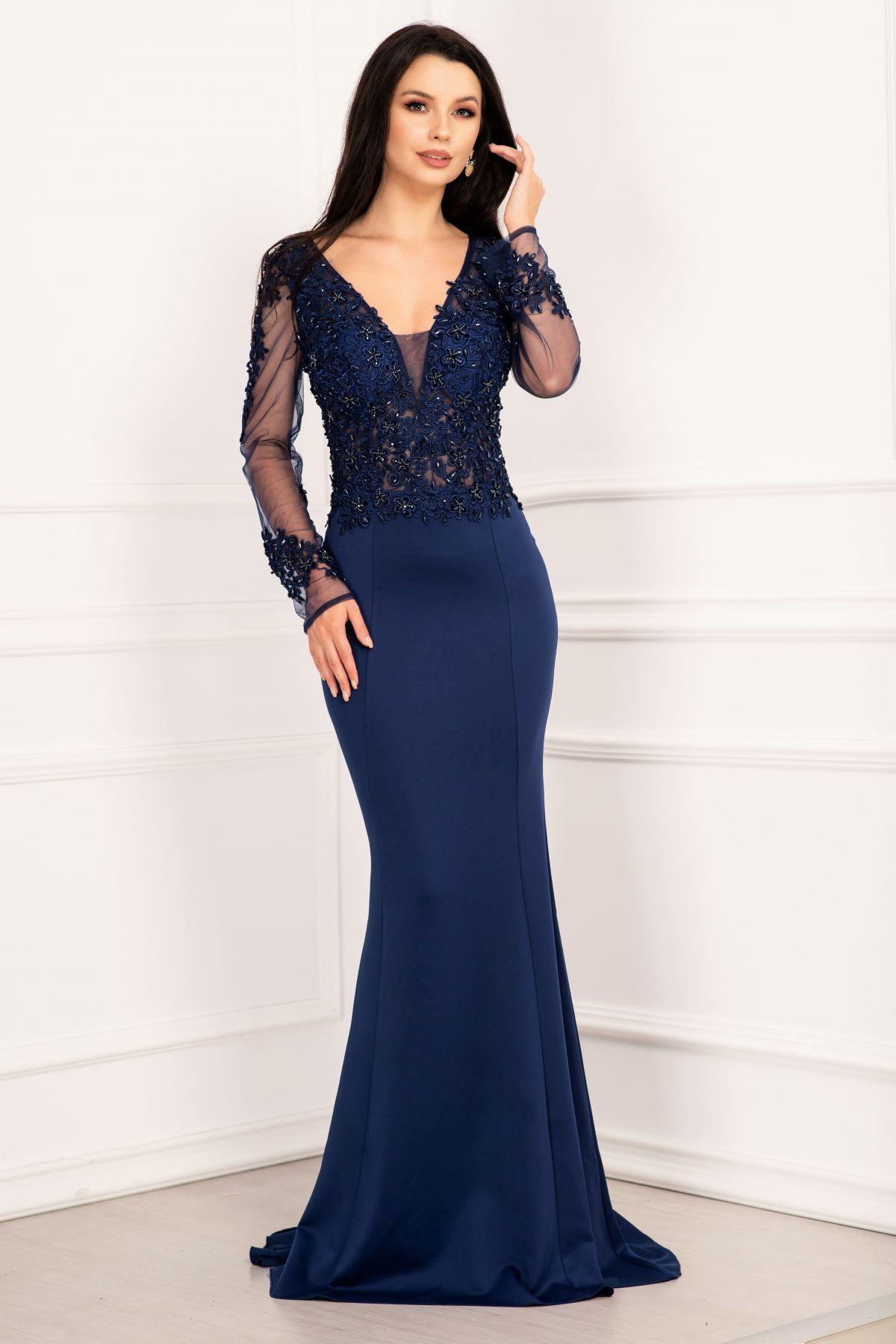 Rochie de seara bleumarin pretioasa tip sirena cu broderie aplicata si margele