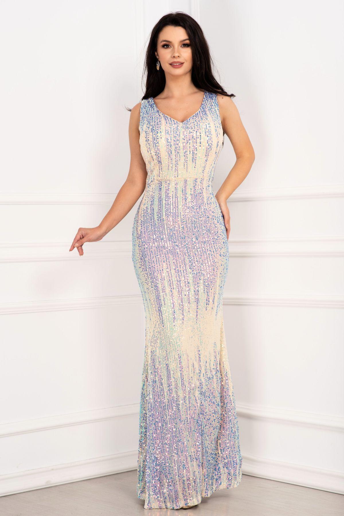 Rochie lunga din paiete tip sirena eleganta cu reflexii multicolore